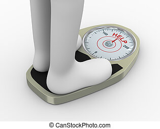 3d weight scale with help word - 3d illustration of...