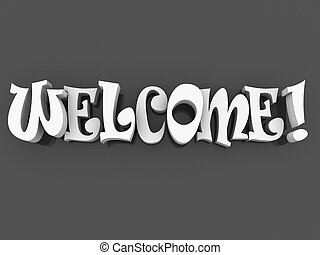 3d Welcome sign with colour. Welcome poster illustration.