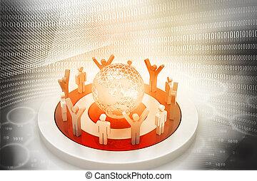 3d, wereld, digitale , ongeveer, mensen