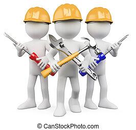 3d, werkmannen , -, team, van, werken