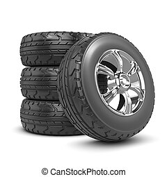 3d render of a wheel leaning against a stack of rubber tyres