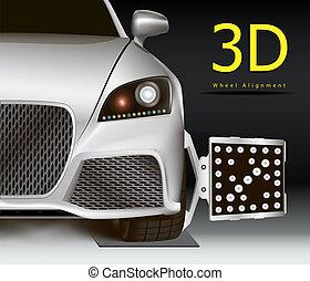 Advertising image for 3d wheel alignment service. Modern car with sensor on wheel. Dark background.