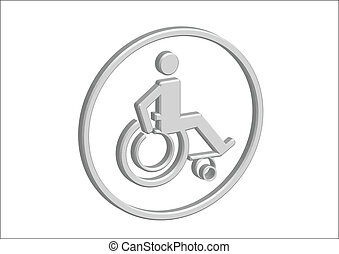 3D Wheelchair Handicap Icon design