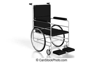 3D wheelchair on white background