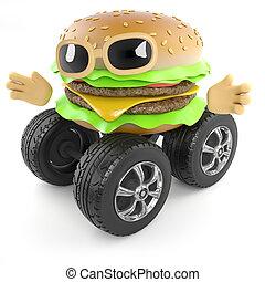 3d Wheeled burger