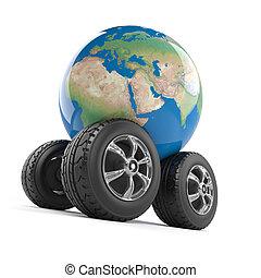 3d Wheeled globe