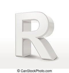 3d white alphabet R