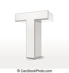 3d white alphabet T
