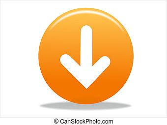 arrow icon - 3d white arrow icon symbol - orange series
