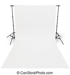 3d White backdrop in photography studio on white background