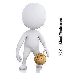 3d white basketball player with ball.