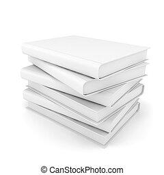 3d white blank books on white background