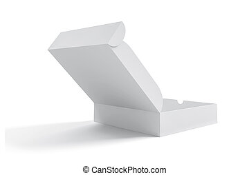 3d white blank product box on white background