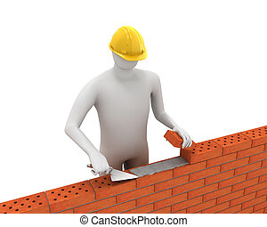 3D white builder lays bricks isolated on white background