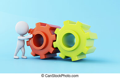 3d White business people and gear mechanism.