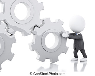 3d White business people pushes a gear