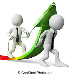 3d white business persons helping to improve statistics. 3d image. Isolated white background.