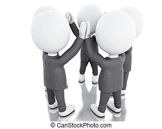 3d White business people. teamwork concept.
