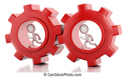 3d White business people with a gear mechanism