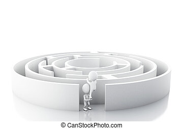 3d White business people with a maze.