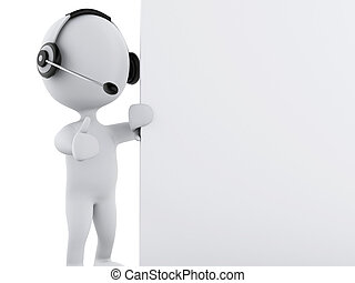 3d White business people with blank board