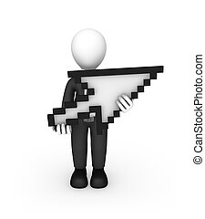 3d white businessman with mouse cursor