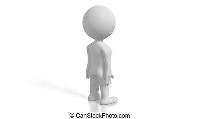 3D white cartoon character