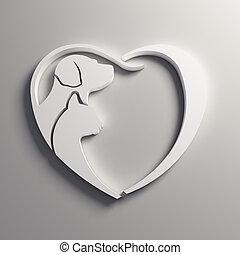 3D White Cat dog love heart logo