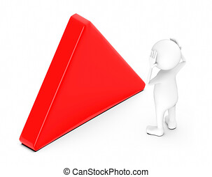 3d white character having headache while standing near to a empty triangular sign