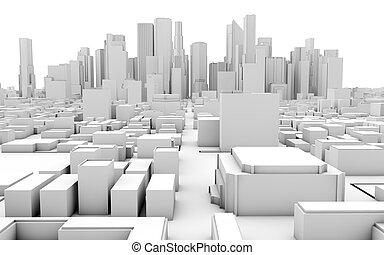 3d white city on white background