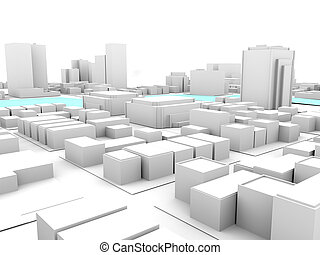 3d white city with crossing river