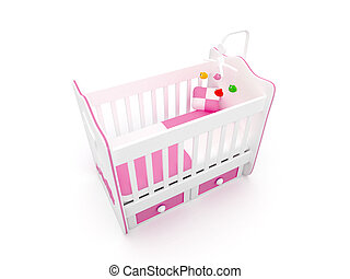 3d white crib with toys-for baby i