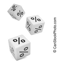 3d White dice falling with percentage sybols