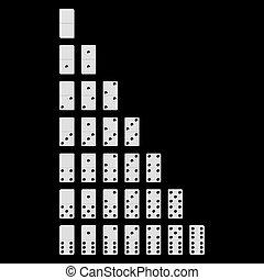 3D white dominoes, black background
