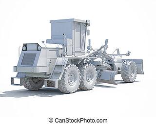 3d White Grader - 3d render: White Motor Grader Road ...