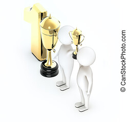 3d white guy , two of them raising hands togheter , success , team togheter -trophy gold number one text