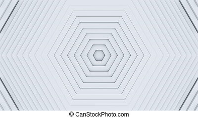 3d white hexagons moving in waves. Abstract background for business presentation. Seamless loopable 4k video