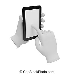 3d white human hand holding a laptop . White background.