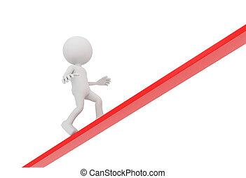 3D white human walks upwards on red line
