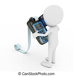3d white human with blue pos terminal - isolated