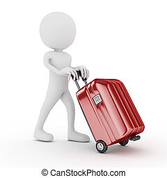 3d white human with red suitcase