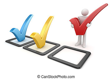 3d white man and colorful checkmark symbol , This is a 3d...