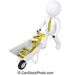 3d white man carries a wheelbarrow
