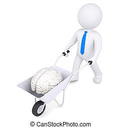 3d white man carries a wheelbarrow of brain