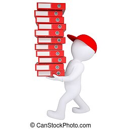 3d white man carries stack of office folders. Isolated render on a white background