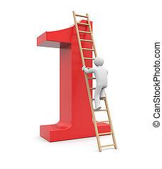 3d white man climb to success