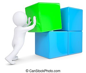 3d white man collects a large cube of blocks. Isolated render on a white background