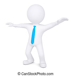 3d white man dances. Isolated render on a white background