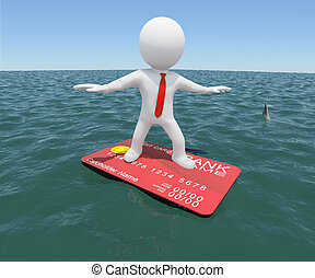 man floating on a credit card