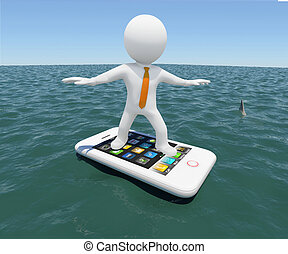 man floating on a smartphone - 3d white man floating on a...
